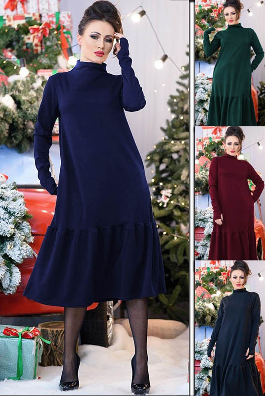 Стильное женское тёплое платье  свободного кроя с 48 по 70 размер