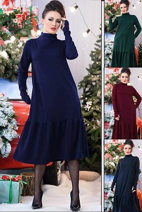 Стильное женское тёплое платье  свободного кроя с 48 по 70 размер, фото 2