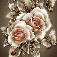 Алмазна вишивка DM-185 Карамельні рози (Алмазная мозаика)