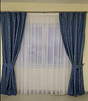Готовые льняные шторы   Готові штори з льону   Комплект якісних штор   Шторы с подхватами   Синие шторы