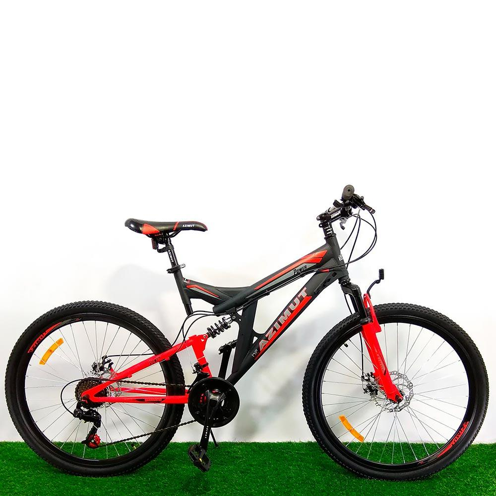 """Горный двухподвесный велосипед 26"""" Azimut Power D черно-красный"""
