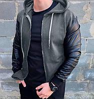 Бомбер с рукавами из эко-кожи Асос LUX Куртка мужская ветровка повседневная Серый (Размер S)