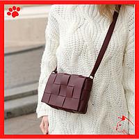 Модная легкая женская сумка из-эко кожи кожзама искусственной кожи через плечо маленькая 2020 бордового цвета