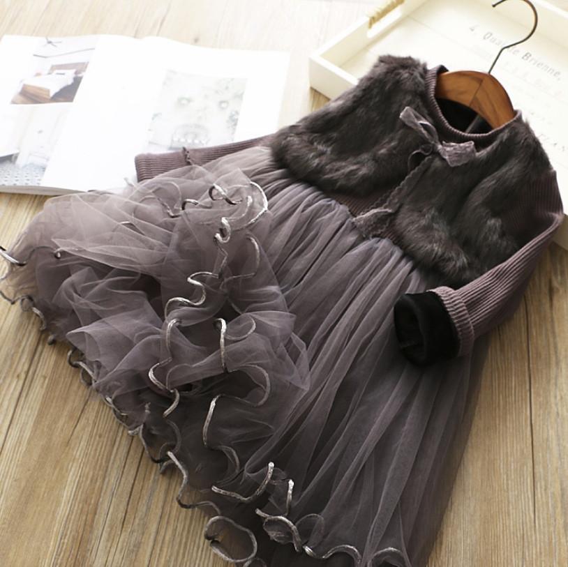 Нарядное детское платье на девочку утепленное  коричневое  1-7 лет
