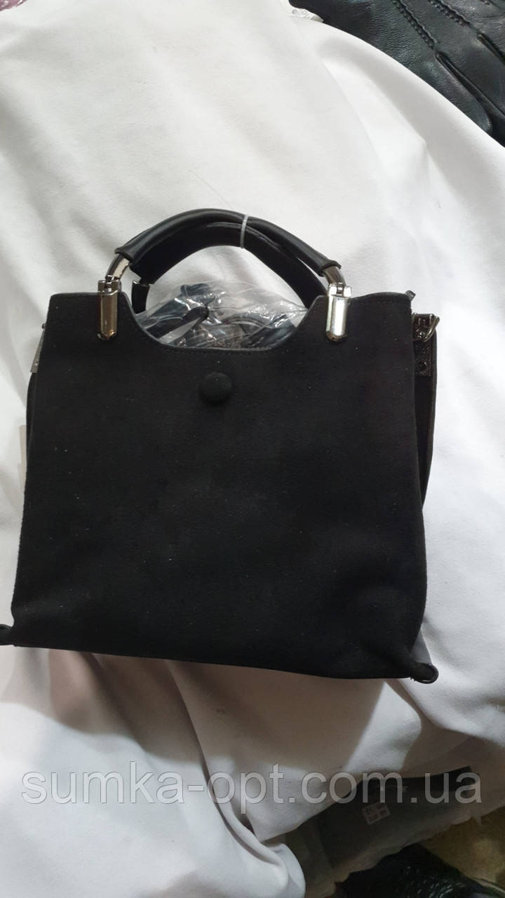 Женские сумки замша Китай (ЧЕРНЫЙ)25*20см