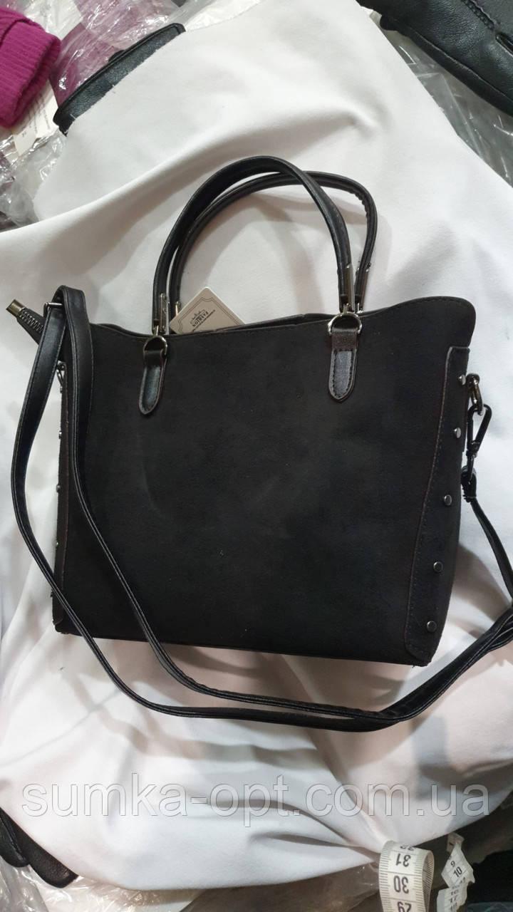 Женские сумки замша Китай (ЧЕРНЫЙ)24*20см