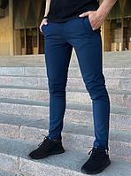 Модные узкие мужские брюки для офиса, синие хлопковые повседневные