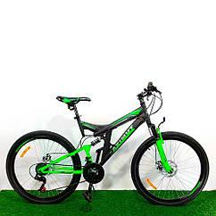 """Горный двухподвесный велосипед 26"""" Azimut Power GD черно-зеленый"""