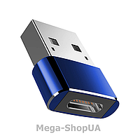 Переходник USB Male to Type-C Female Adapter. Адаптер Type-C (мама) - USB (папа). Type-A to Type-C Blue, фото 1