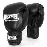 Кожаные боксерские перчатки  REYVEL 16унц(чёрные)