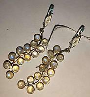 """Серебряные серьги с натуральным  лунным камнем  """"Гроздь"""" Biz, фото 1"""