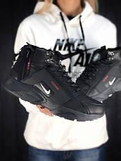Мужские зимние кроссовки с мехом в стиле Nike Huarache Acronym Concept Full Black черные, фото 3