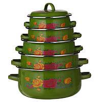 Набор кастрюль эмалированных A-PLUS 10 предметов (096-NEW) Зеленые ( Сколы на кастрюлях )
