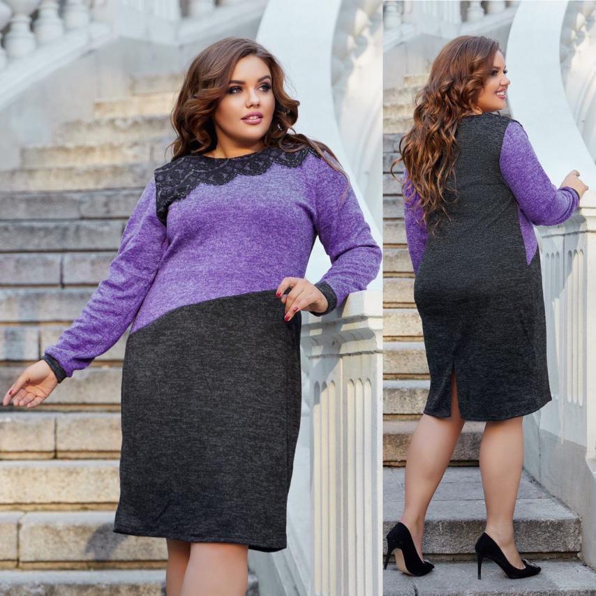 Женское платье большого размера. Размеры: 50,52,54,56. Ткань: ангора софт, гипюр.