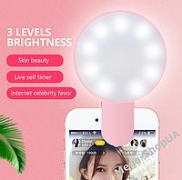 Селфи кольцо для телефона. Вспышка кольцевая для телефона Mini LED Selfie Light GF541254R Pink
