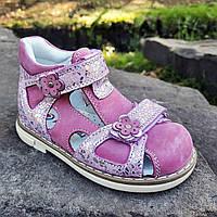 Детские ортопедические босоножки на девочку кожаные розовые Pinky Pinky Турция