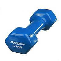Гантель виниловая Profi 1.5 кг (0665) Синяя (Уценка)