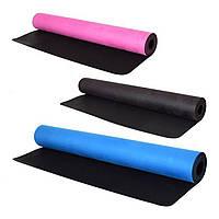 Мат для йоги Profi 183 х 68 x 0.3 см двухсторонний MS 2683 Замшевый + резина