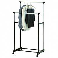 Телескопическая стойка-вешалка для одежды Double Pole Clothes Horse R29746