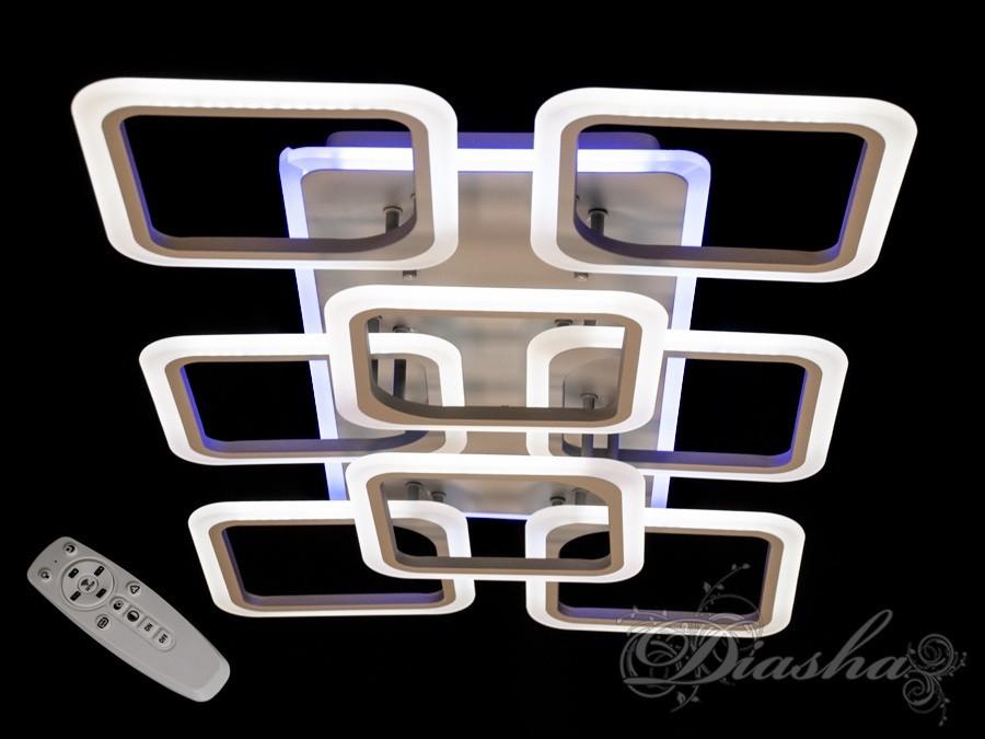 Потолочная прямоугольная люстра с диммером и LED подсветкой A8060/6+2GR LED 3color dimmer