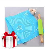 Силиконовый коврик для раскатки теста 50x70 см ГОЛУБОЙ