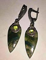 """Серебряные серьги с моховым  агатом и хризолитом  """"Весенний лист"""", фото 1"""