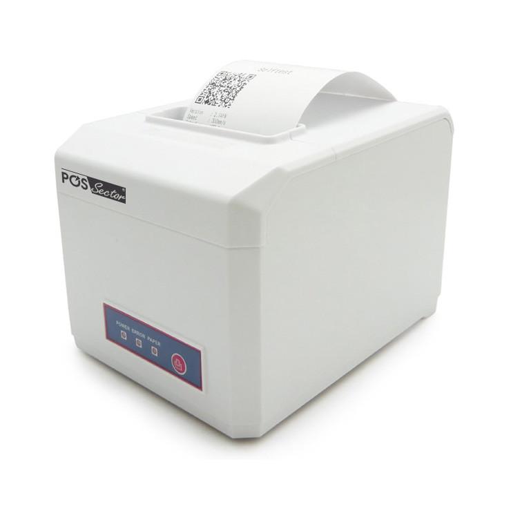 Универсальный термо принтер чеков E801 для ленты 58мм и 80мм USB + LAN + COM белый