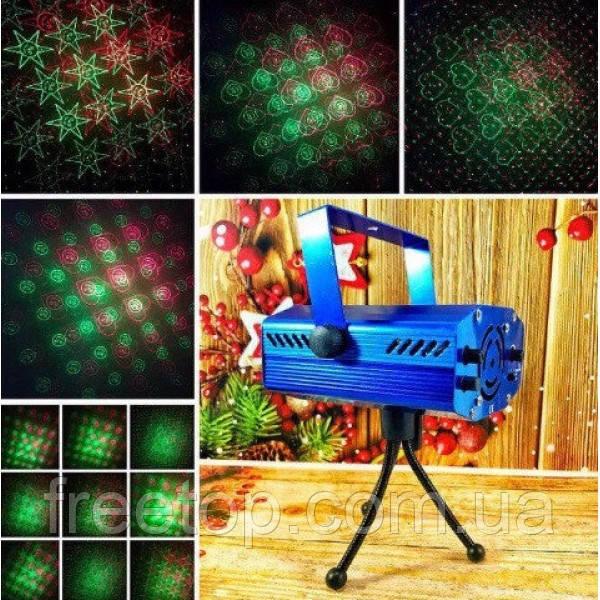 Лазерный проектор, стробоскоп, диско лазер Laser 6 in 1 с рисунками YX05
