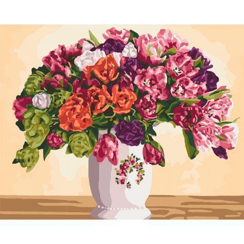 "Картина по номерам ""Пышные тюльпаны"" ★★★★ КНО3075"