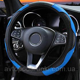 Оплетка (чехол) на руль из кожзама (36-39 размер,  эко-кожа, черная с синими вставками)