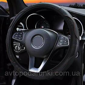 Оплетка (чехол) на руль из кожзама (36-39 размер,  эко-кожа, черная с черными вставками)