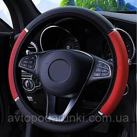 Оплетка (чехол) на руль из кожзама (36-39 размер,  эко-кожа, черно - красная)