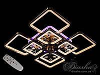 Потолочная люстра с диммером и LED подсветкой, цвет чёрный хром, 200W 8157/4+4BHR LED 3color dimmer
