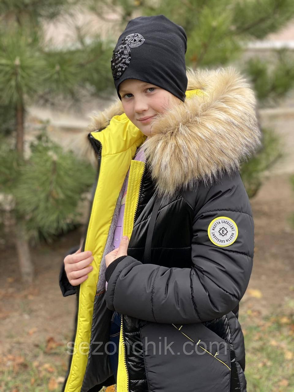 Пуховик на девочку зимний с мехом удлинённый