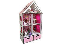 Кукольный домик FANA для кукол ЛОЛ LOL LITTLE FUN maxi c мебелью, текстилем и БОКСОМ для игрушек (2107)