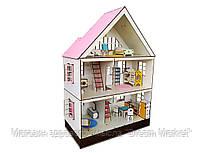 Кукольный домик FANA для кукол ЛОЛ LOL Таунхаус c заборчиком, мебелью и текстилем 50х26х72 см (2109)