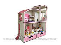 Кукольный двухэтажный домик для кукол до 33 см - Пентхаус Барби Barbie с мебелью и боксом для игрушек FANA