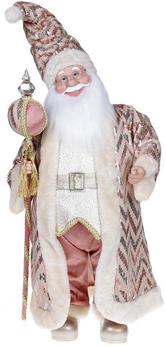 """Декоративная музыкальная фигура """"Санта с посохом"""" 60см, розовый"""