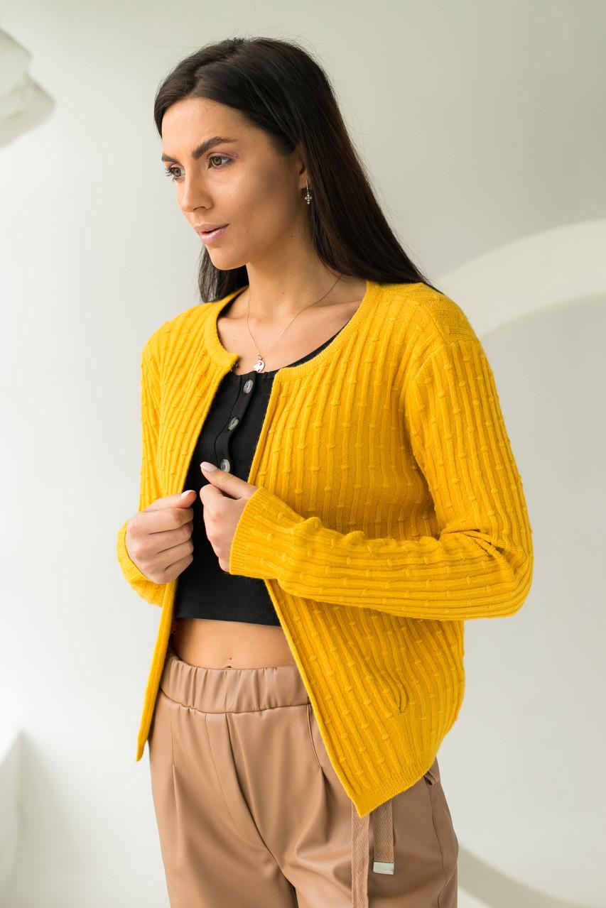 Короткий кардиган со стильным узором P-M - желтый цвет, XL/XXL (есть размеры)