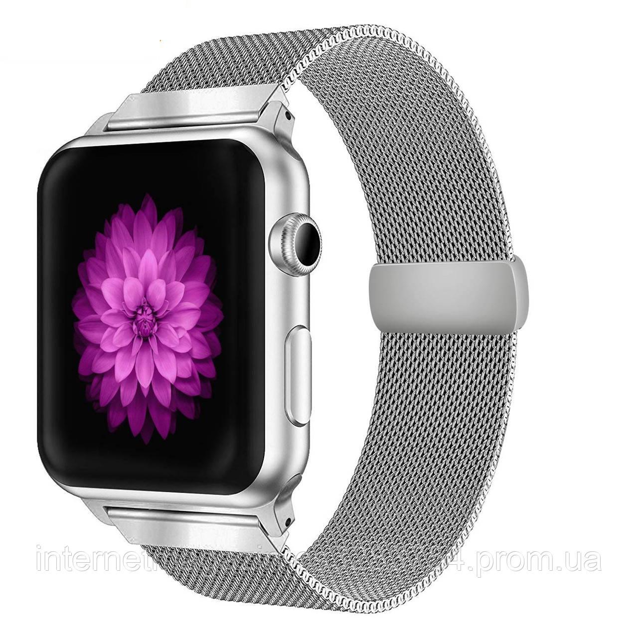 Ремешок BeWatch миланская петля Apple Watch 42мм / 44мм Серебристый (1060518)