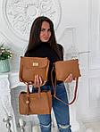 Женская сумка 3в1, экокожа PU (коричневый), фото 3