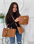 Женская сумка 3в1, экокожа PU (коричневый), фото 4