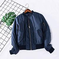 Бомбер теплый женский куртка демисезонная легкая короткая, цвет синий, размер