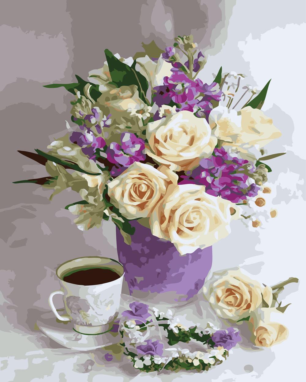 Картина за Номерами Троянди і чай 40х50см RainbowArt