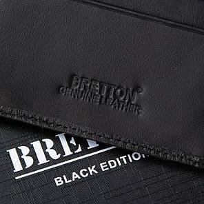 Затиск для грошей чоловічий шкіряний чорний з монетницею Bretton M3206, фото 2