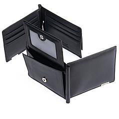 Зажим для денег мужской кожаный черный с монетницей Bretton M3206