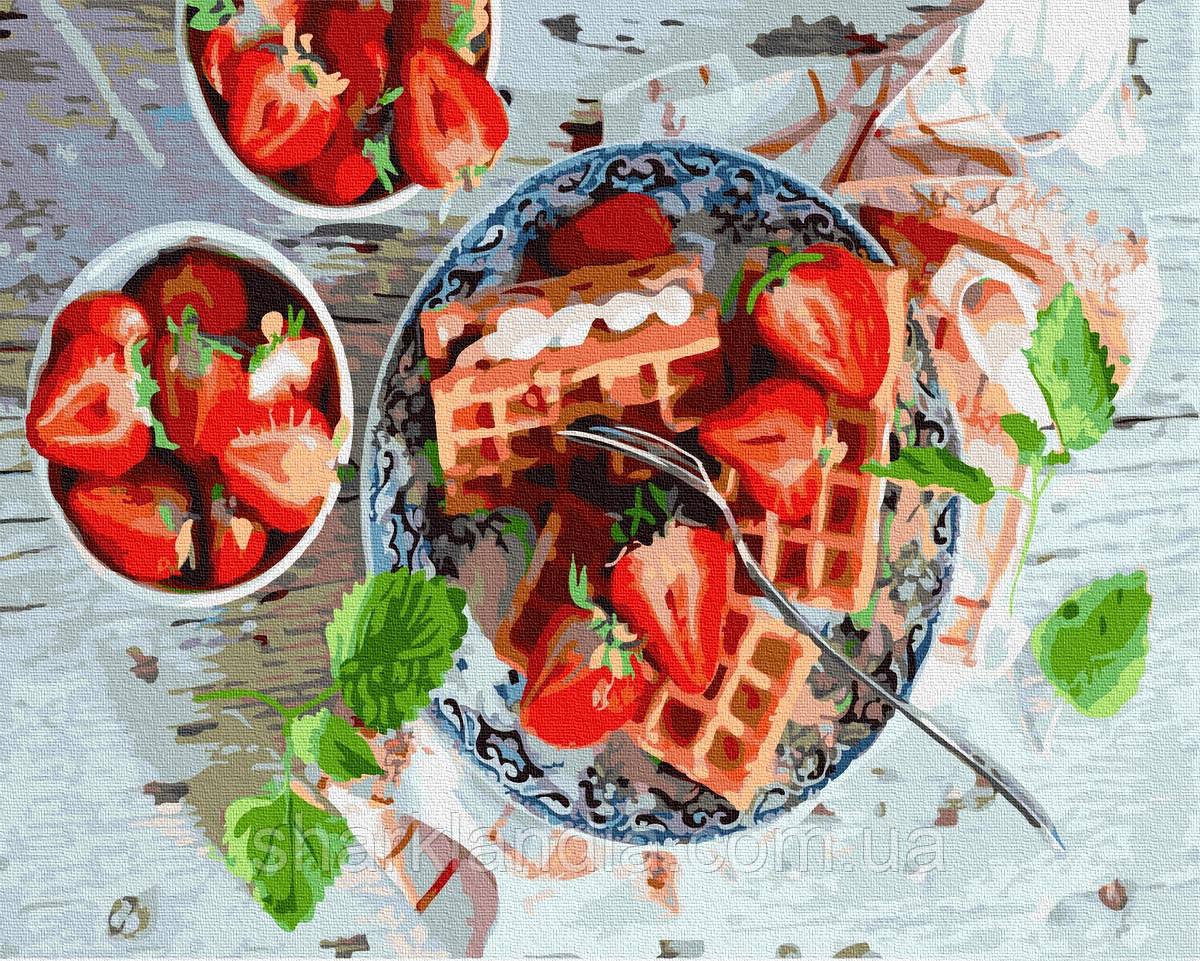 Картина за номерами Полуничний сніданок 40х50см RainbowArt