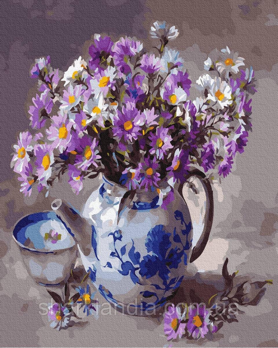 Картина по номерам Цветы в заварнике 40х50см RainbowArt   Цветы Букет