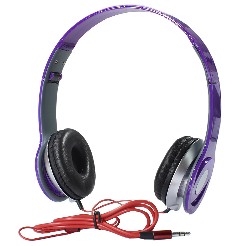 Наушники Lesko PV TM-SLL0001 Фиолетовые накладные музыкальные jack 3.5