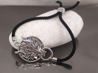 Браслет Дракон на чорному шнурку, колір срібло